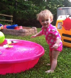 She was very happy to find a baby pool in the yard this morning.
